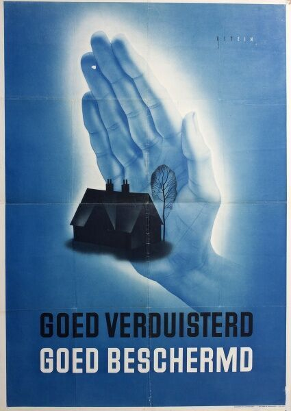 Dutch poster about blackout precautions during the Second World War