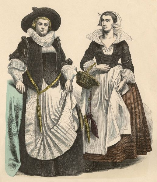 Two Dutch townswomen from the first third of the 17th century Date: circa 1615