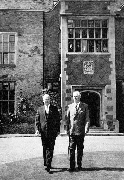 Photograph showing Dwight D. Eisenhower (1890-1969), President of the USA, and (Maurice) Harold Macmillan (1894-1986), British Prime Minister, outside Chequers, the country house retreat of the British premier, 29th August 1959