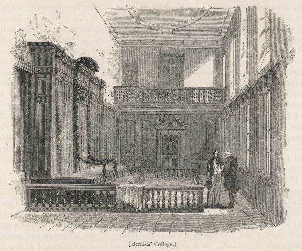 COLLEGE OF ARMS OR HERALDS' COLLEGE, Queen Victoria Street, London. An interior view showing the Earl Marshal's Court which like the building dates from the 1670s. Date: 1850s