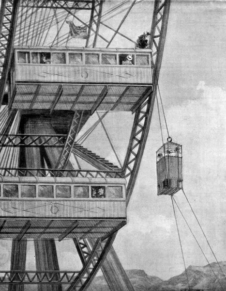 The Giant Ferris Wheel at Earl's Court, London, showing the emergency evacuation procedure - a picture which was no doubt intended to reassure nervous passengers Date: 1894