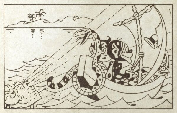 A still from an early animated short film - very much in the style of a young Walt Disney! - depicting a couple in a small boat being blown forward by a sea monster. A snake and fish are also passengers on the craft. Date: circa 1924