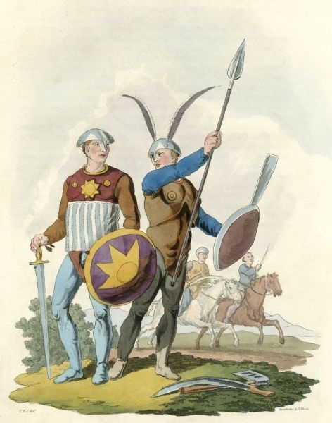 Danish warriors at the time of the early Scandinavian raids on Britain. Date: circa 6th century