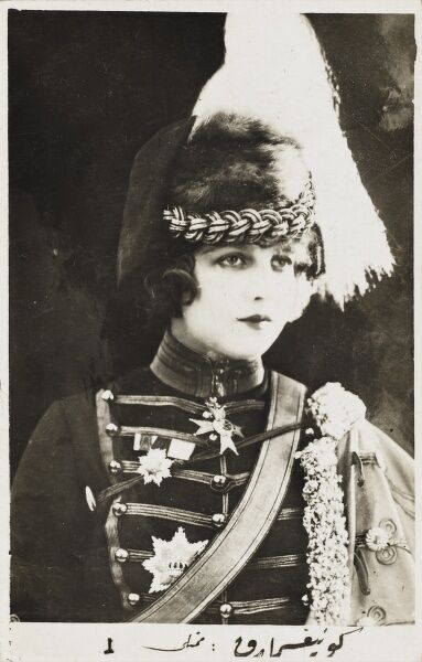 Early Hollywood actress dressed as a Shah