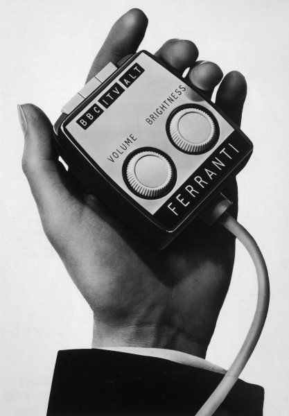 An early remote control, or an Armchair Programme Control. Manufactured by Ferranti, this device came with 15 feet of cord which enabled the TV to be operated from a distance