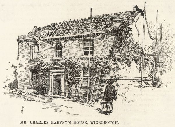 The Colchester earthquake in Essex, Britain: Mr Charles Harvey's house in Wigborough is damaged