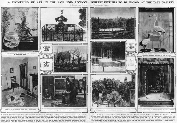 A double page spread from the Illustrated London News showing some the works on display at the first annual Exhibition of the East London Art Club at the Whitechapel Art Gallery