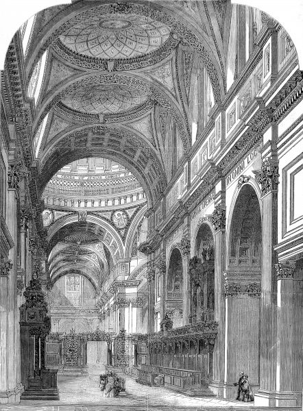 Engraving showing the interior of the East transept of St. Paul's Cathedral, shortly after modifications had been made to this part of the cathedral, 1860. Date: 15 December 1860
