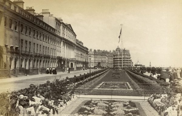 The Grand Parade at Eastbourne, Sussex. Date: circa 1890