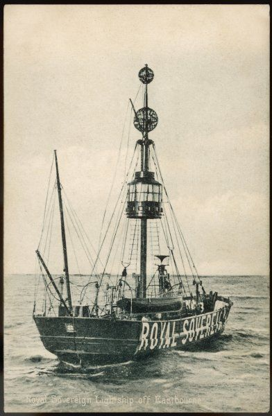 The 'Royal Sovereign' lightship is moored off Eastbourne, on the south coast of England