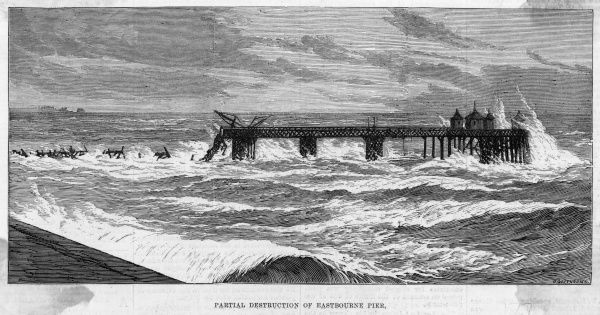 The pier at Eastbourne, Sussex, is partially destroyed by rough seas. It was only opened a few years earlier, in 1870