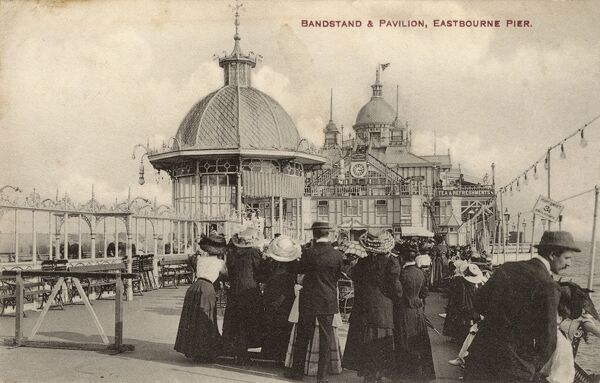 Eastbourne Pier, East Sussex - Bandstand and Pavilion Date: circa 1910s