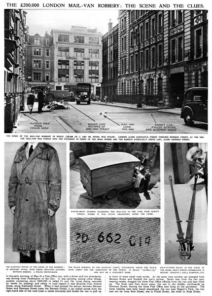 A page from the Illustrated London News, detailing the Eastcastle Street Robbery of 1952, when a Post Office van was hijacked and it's contents, 200,000 in soiled notes, were stolen. The scene of the crime, the stolen mail van, the bolt cutters