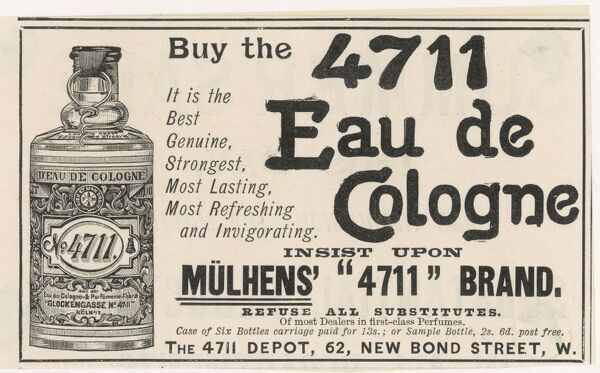 Advertisement illustrating Muhlens 4711 Eau de Cologne, which is available from the 4711 Depot 62, New Bond Street, London