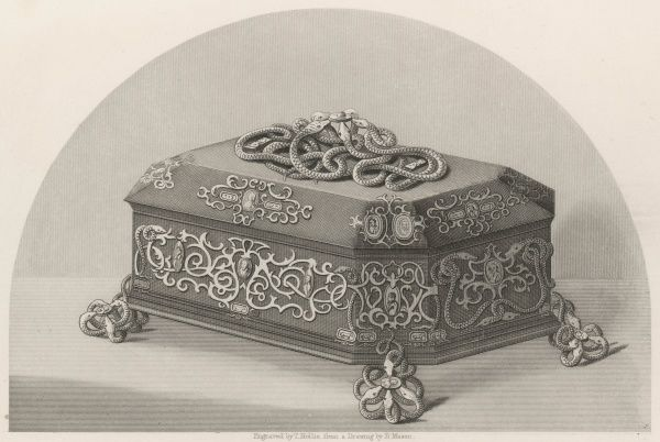 An ebony casket in richly chased ormolu with serpents upholding antique coral cameos