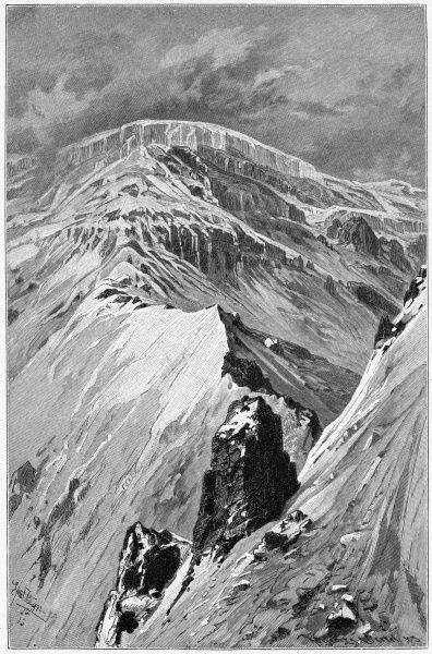 On the upper slopes of the volcano : Whymper, who made this picture, was a noted mountaineer as well as artist