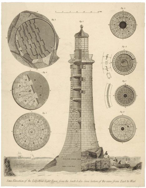 Semi-elevation of the Eddystone Lighthouse from the South and also semi-section of the same from East to West