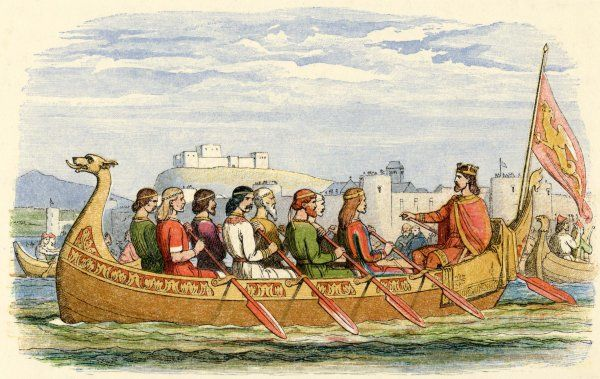 Edgar is rowed onn the Dee by eight kings to demonstrate his overlordship and imperial pretentions