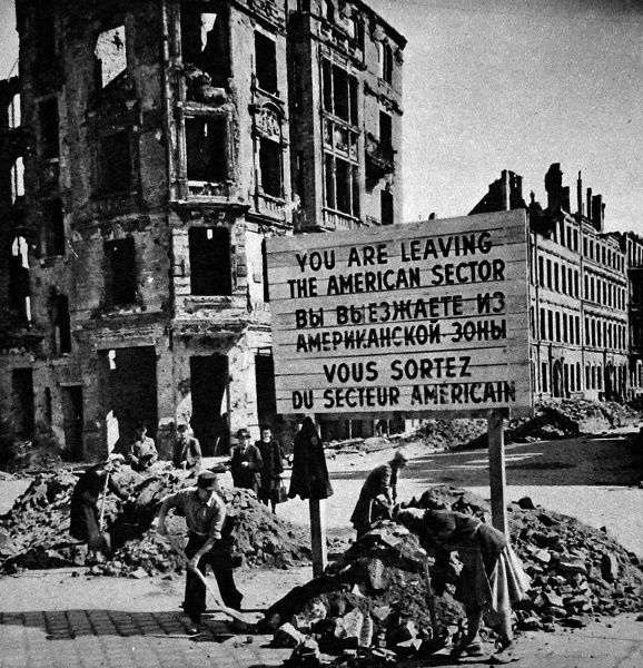 Photograph showing German men and women removing the rubble barricades between the American Sector and the Soviet Sector of Berlin at the end of the Berlin Blockade, May 1949. Between April 1948 and May 1949 Josef Stalin, leader of the USSR