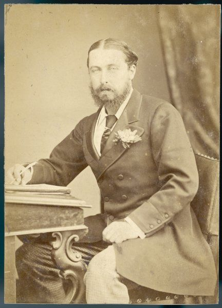 ALFRED DUKE OF EDINBURGH Second son of Victoria, in civilian clothes, writing at a desk