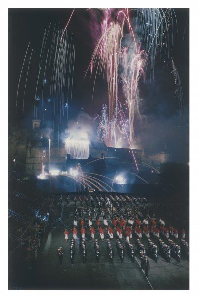 An impressive fireworks display from Edinburgh Castle during the famous Edinburgh Tattoo