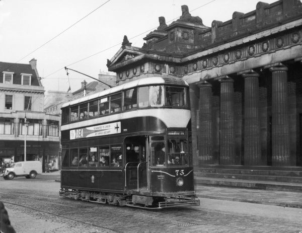 A standard tramcar at Edinburgh, Scotland, running a normal service on the last day before being superceded by buses