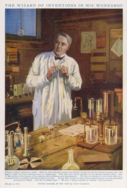 THOMAS ALVA EDISON American inventor, in his workshop at West Orange, New Jersey