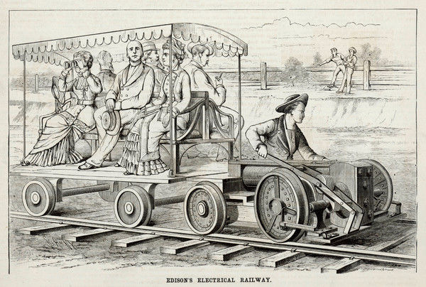 Edison's experimental electrical railway, at Menlo Park : the locomotive picks up power from the track and can reach some 50 km/h - but the ride is bumpy !