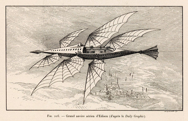 Thomas Alva Edison's flying ship, the larger of his two projected flying machines