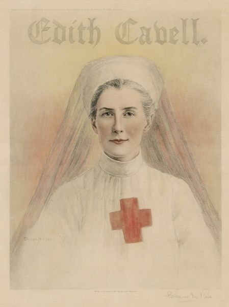 EDITH CAVELL - nurse in Belgium who helped some 200 Allied servicemen to escape by hiding them in her hospital : the Germans, not surprisingly, disapproved, and shot her