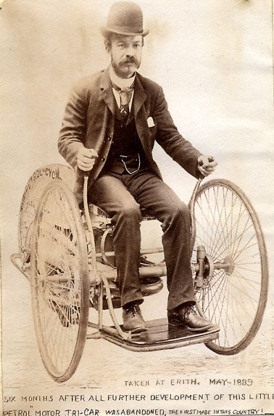 Edward Butler steering his petrol 'Tri-car' at Erith 1889 Date: 1889