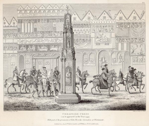 Part of the coronation procession of Edward VI, Cheapside, London. Only nine years old, he rode from the Tower of London to Westminster