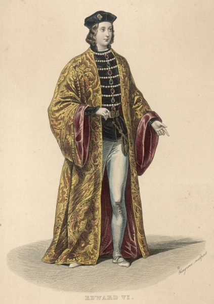 Full length portrait wearing a large, ornate gold and red robe