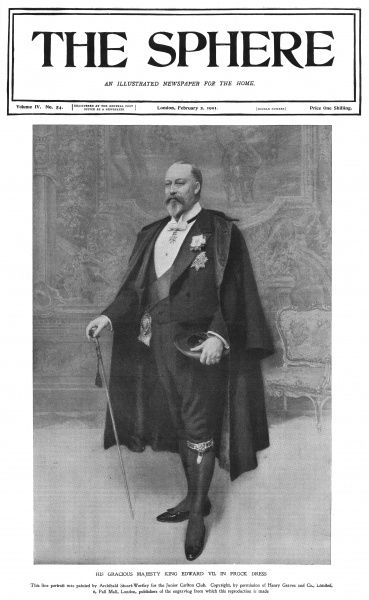 Just a week after Queen Victoria's death, her son, King Edward VII appears on the cover of The Sphere, heralding a new era in the British monarchy. Date: 1901