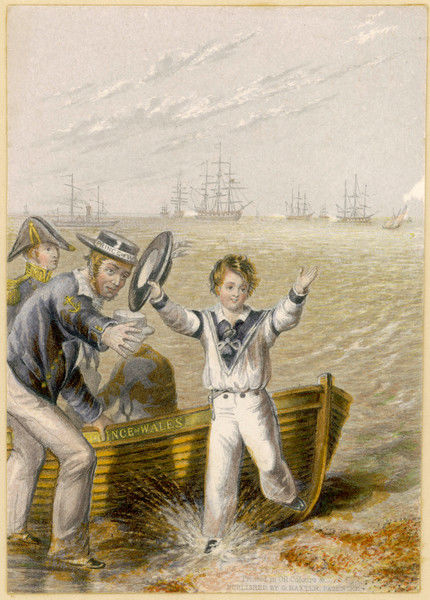 Young Edward as a boy enjoys a visit to Portsmouth harbour, where a sailor points out the vessels of the navy which he will one day command