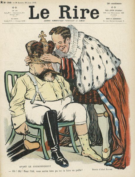 EDWARD VII French cartoon of Edward having his crown fitted