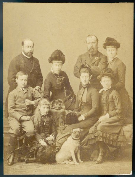 EDWARD VII, BRITISH ROYALTY photographed with Princess Alexandra and Louis, Grand Duke of Hesse (widower of Princess Alice) and Louis and Alice's children (circa 1884)