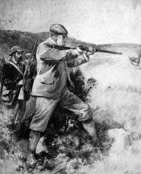 Edward VII (1841-1910), deer-stalking in Scotland. A keen sportsman, the King spent many holidays at Balmoral or Sandringham in Norfolk, where he was able to indulge this particular passion