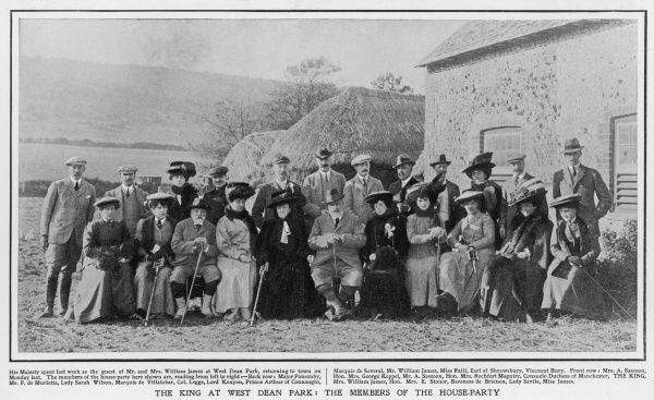 EDWARD VII at a house-party at West Dean Park. The King's mistress, Alice Keppel is seated second from left