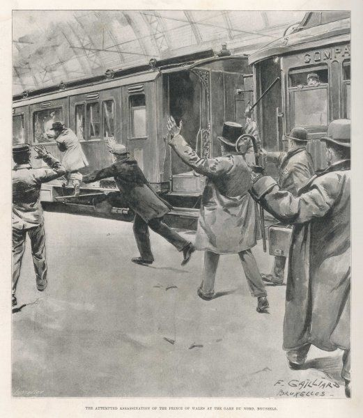 Edward, Prince of Wales, attacked on the station platform at Brussels on his way to Cologne, by an anarchist named Sipido