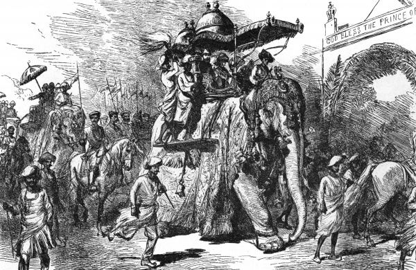 As Prince of Wales, Edward tours India. He enters Baroda by elephant. Date: 9 November 1875