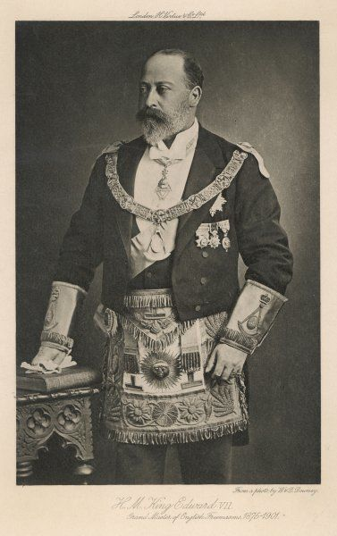 EDWARD Prince of Wales (subsequently king Edward VII) in his ceremonial regalia as Grand Master of English Freemasons, a position he held from 1875 to 1901