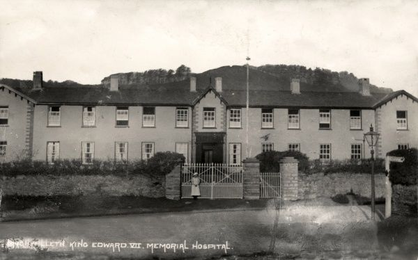 The Edward VII Memorial Hospital at Machynlleth, Montgomeryshire. The hospital, located in the former Machynlleth Union workhouse, opened in 1920 for the treatment of tuberculosis (TB) patients. Date: Date unknown