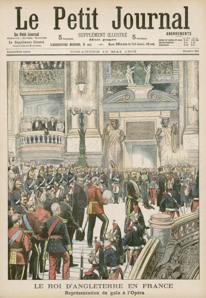 Edward VII attends the Paris Opera, not so much for love of the music as to demonstrate his wish for friendly relations between Britain and France