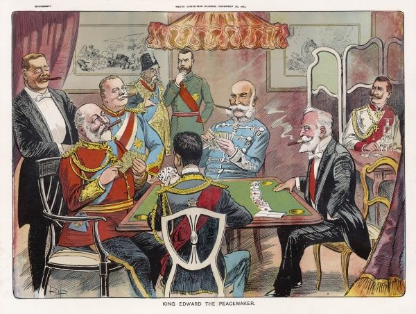 'Edward the Peacemaker' enjoys a friendly game with other heads of state. Roosevelt looks on approvingly, but Tsar, Shah and Kaiser feel excluded from the party