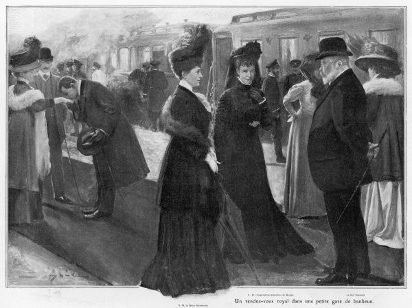 Finding that his train will pass that of the Tsar, Edward arranges for both to stop at Le Bourget, France, so they and their wives can briefly pass the time of day