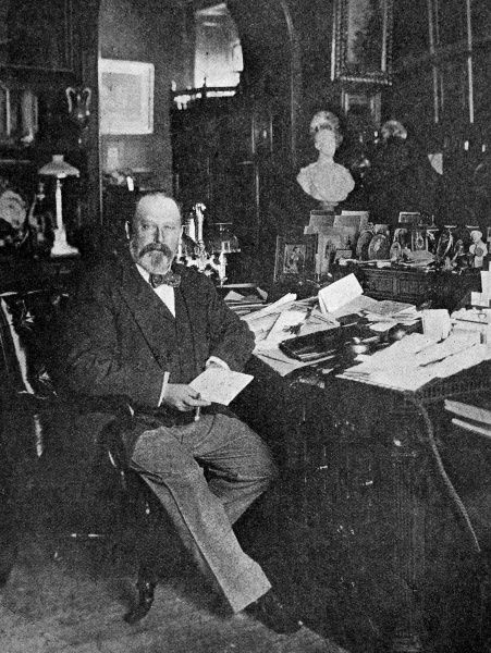 Edward VII (1841-1910) shown at his desk in his study. Dubbed, 'The Uncle of Europe' and also, 'Peacemaker', Edward was a skilled diplomat and was instrumental in cementing friendly relations with other nations, particularly France and Russia