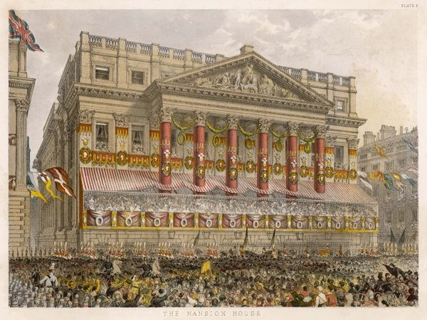 Mansion House, decorated for the wedding of Edward VII to Princess Alexandra