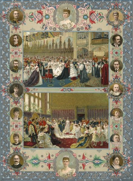 MARRIAGE to Princess Alexandra Two scenes from the wedding in St George's Chapel, Windsor Date: 10 March 1863
