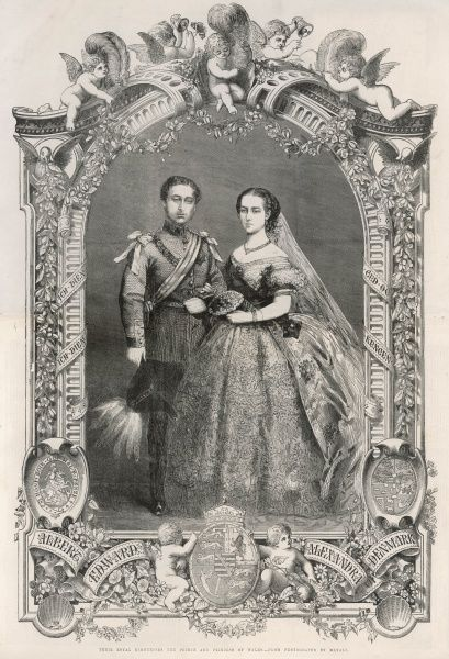 Wedding of Edward VII and Alexandra of Denmark in 1863. Date: March 1863
